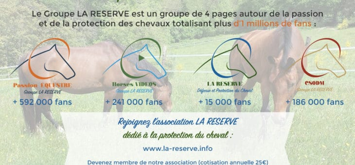 Groupe La RESERVE – 1 Millions de fans autour de la passion et de la protection du cheval !